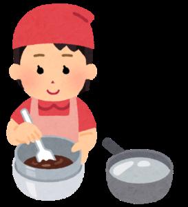 チョコ作りをする女性