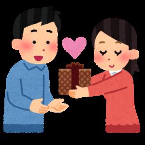 バレンタインデーにプレゼントを渡す女性